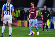 Aaron Cresswell of West Ham United (3) visibly shows his frustration during the Premier League match between Huddersfield Town and West Ham United at the John Smiths Stadium, Huddersfield, England on 10 November 2018.