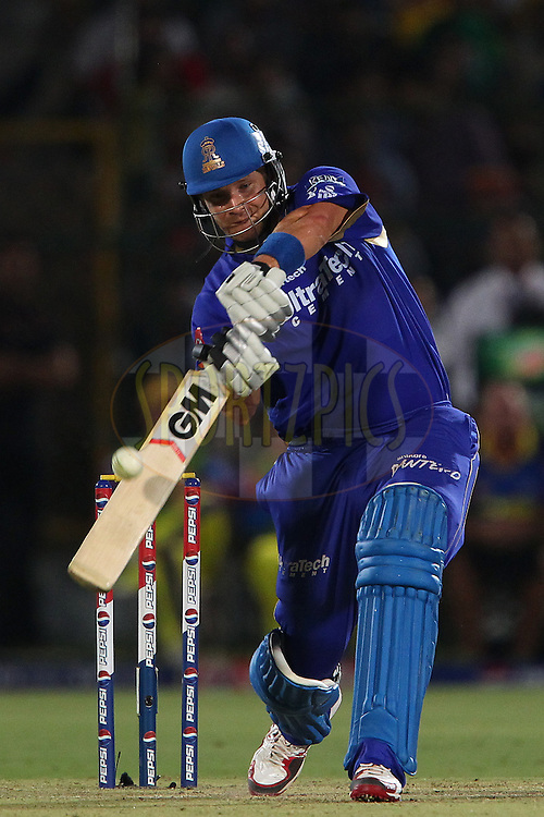 Shane Watson launches a six during match 61 of the Pepsi Indian Premier League ( IPL) 2013  between The Rajasthan Royals and the Chennai SUperkings held at the Sawai Mansingh Stadium in Jaipur on the 12th May 2013..Photo by Ron Gaunt-IPL-SPORTZPICS ..Use of this image is subject to the terms and conditions as outlined by the BCCI. These terms can be found by following this link:..http://www.sportzpics.co.za/image/I0000SoRagM2cIEc