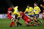 Damien Chouly of Clermont and Mickael Ivaldi of Lyon during the French championship Top 14 Rugby Union match between Lyon OU and Clermont on February 17, 2018 at Groupama stadium in Lyon, France - Photo Romain Biard / Isports / ProSportsImages / DPPI