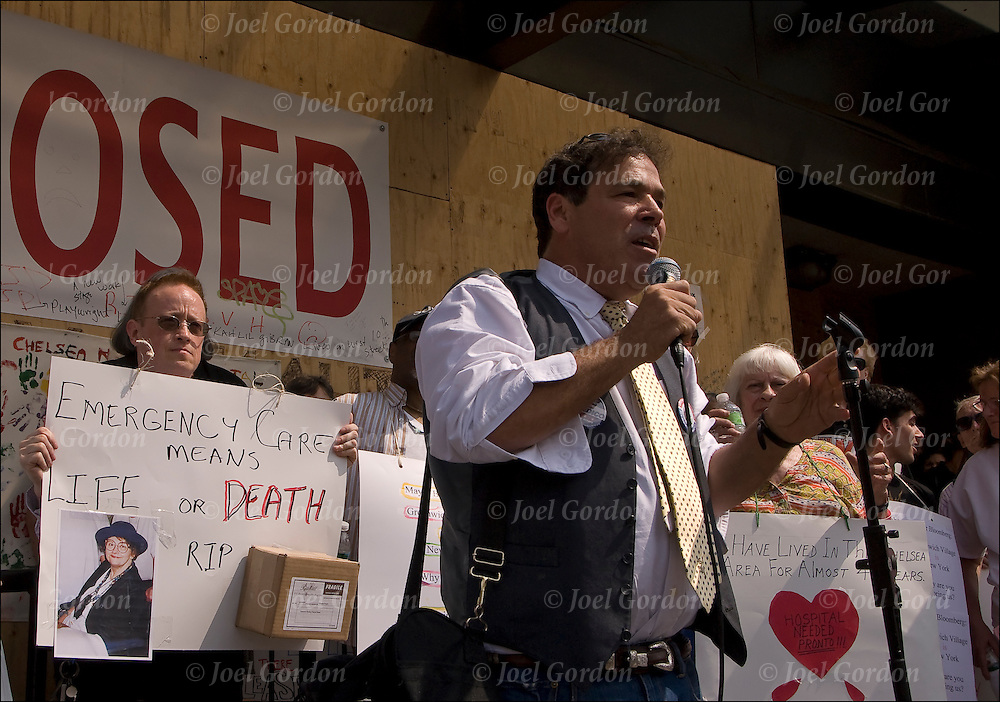 Randy Credico talking to crowd at the rally, demonstration protest for the Coalition for a New Village Hospital  on 7th Avenue, committed to putting a hospital at the St. Vincents site. He is  speaking about how much St. Vincents has meant and how essential a full-service community hospital is to the west side of New York.