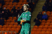 Oldham Athletic Goalkeeper, Joel Coleman during the Sky Bet League 1 match between Blackpool and Oldham Athletic at Bloomfield Road, Blackpool, England on 16 February 2016. Photo by Pete Burns.