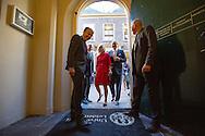 """LEIDEN - King Willem Alexander and Her Majesty Queen Máxima on Thursday, October 1st, 2015 at the conference """"China in the Netherlands' Leiden University. The meeting is organized by the university in preparation for the state visit of the royal couple at the end of October brings the PRC. POOL COPYRIGHT ROBIN UTRECHT <br /> Koning Willem alaxander en Hare Majesteit Koningin Máxima zijn op donderdag 1 oktober 2015 aanwezig bij de bijeenkomst """"China in Nederland"""" bij de Universiteit Leiden. De bijeenkomst wordt georganiseerd door de universiteit in aanloop naar het staatsbezoek dat het Koningspaar eind oktober brengt aan de Volksrepubliek China."""