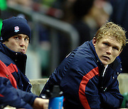 2005 Rugby, Investec Challenge, England vs Manu Samoa, left, james Simson-Daniel and Josh Lewsey, look at the big screen for a replay.  RFU Twickenham, ENGLAND:     26.11.2005   © Peter Spurrier/Intersport Images - email images@intersport-images..