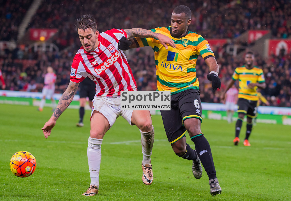 Stoke City midfielder Ibrahim Afellay (14) and Norwich City defender Sebastien Bassong (6) challenge for a loose ball in the Premier League match between Stoke City and Norwich City