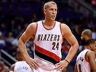 Nov 2, 2016; Phoenix, AZ, USA; Portland Trail Blazers forward Mason Plumlee (24) stands on the court during the first half of the NBA game against the Phoenix Suns at Talking Stick Resort Arena. The Suns defeated the Trail Blazers 118-115 in overtime. Mandatory Credit: Jennifer Stewart-USA TODAY Sports