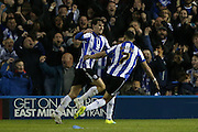Sheffield Wednesday midfielder Kieran Lee (20) celebrates after scoring to make it 2-0 during the Sky Bet Championship Play Off First Leg match between Sheffield Wednesday and Brighton and Hove Albion at Hillsborough, Sheffield, England on 13 May 2016.