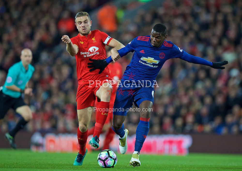 LIVERPOOL, ENGLAND - Monday, October 17, 2016: Liverpool's captain Jordan Henderson in action against Manchester United's Paul Pogba during the FA Premier League match at Anfield. (Pic by David Rawcliffe/Propaganda)