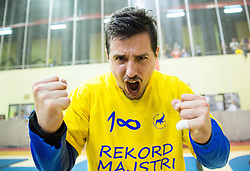 Matevz Skok of Celje PL celebrates after winning during handball match between RK Gorenje Velenje and RK Celje Pivovarna Lasko in Final match of 1st NLB League - Slovenian Championship 2013/14 on May 23, 2014 in Rdeca dvorana, Velenje, Slovenia. RK Celje Pivovarna Lasko became 18-times Slovenian National Champion. Photo by Vid Ponikvar / Sportida