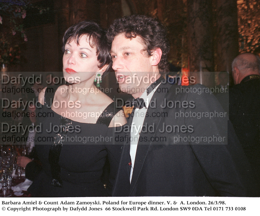 Barbara Amiel & Count adam Zamoyski. Poland for Europe dinner. V. &  A. London. 26/3/98. <br />