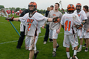 2011/05/14 - RIT's Iric Bressler celebrates with his team after a 13-12 overtime victory over Denison University in the second round of the NCAA tournament.