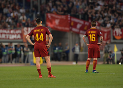 May 2, 2018 - Rome, Italy - Daniele De Rossi, Kostas Manolas during the UEFA Champions League semifinal match between AS Roma and FC Liverpool at the Olympic stadium on may 02, 2018 in Rome, Italy. (Credit Image: © Silvia Lore/NurPhoto via ZUMA Press)