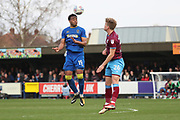 AFC Wimbledon midfielder Tom Soares (19) beating Scunthorpe United midfielder Cameron McGeehan (26) to the ball during the EFL Sky Bet League 1 match between AFC Wimbledon and Scunthorpe United at the Cherry Red Records Stadium, Kingston, England on 7 April 2018. Picture by Matthew Redman.