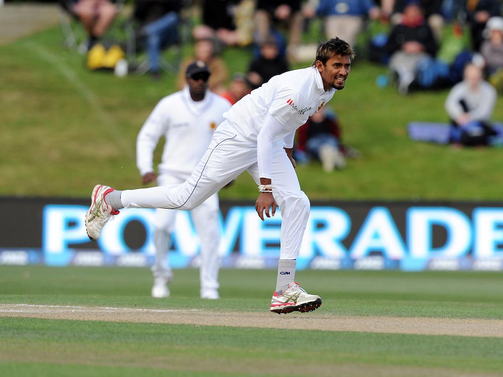 Sri Lanka's Suranga Lakmal bowls against New Zealand on day four of the first International Cricket Test, University Cricket Oval, Dunedin, New Zealand, Sunday, December 13, 2015.Credit:SNPA / Ross Setford