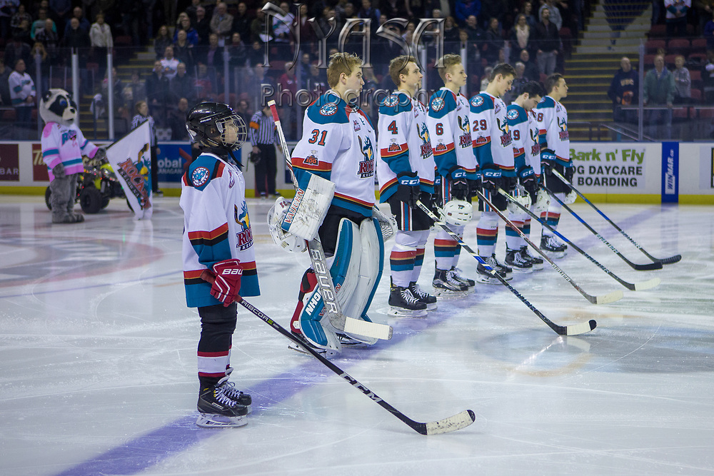 KELOWNA, CANADA - JANUARY 30:  Pepsi Player of the Game in the line up at the Kelowna Rockets game on January 30, 2018 at Prospera Place in Kelowna, British Columbia, Canada.  (Photo By Cindy Rogers/Nyasa Photography,  *** Local Caption ***