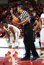 16 November 2015: Nate Green give the free throw shooter 2 shots. Illinois State Redbirds host the Morehead State Eagles at Redbird Arena in Normal Illinois (Photo by Alan Look)