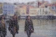Cityscape of Chania, Crete, Greece As seen through a wet window on a rainy day