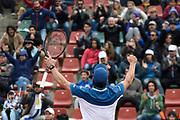 20180916/ Nicolas Celaya - adhocFOTOS/ URUGUAY/ MONTEVIDEO/ CARRASCO LAWN TENNIS/ Pablo Cuevas durante un partido de singles por la final del Grupo II Zona Americana de la Copa Davis, en el Carrasco Lawn Tennis, Montevideo.  <br /> En la foto: Pablo Cuevas durante un partido de singles por la final del Grupo II Zona Americana de la Copa Davis, en el Carrasco Lawn Tennis, Montevideo. Foto: Nicol&aacute;s Celaya /adhocFOTOS