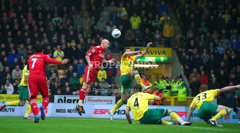 NORWICH, ENGLAND - Saturday, April 28, 2012: Liverpool's Jonjo Shelvey sees his header hit the crossbar against Norwich City during the Premiership match at Carrow Road. (Pic by David Rawcliffe/Propaganda)
