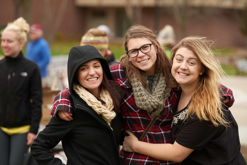 Candid; cloudy; day; Group; Lifestyle; November; Outside; Smiling; Socializing; Student students; Volunteering; Wittich; Woman women