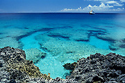 live-aboard dive boat just off <br /> shoreline of West Caicos<br /> Turks & Caicos Islands<br /> ( Western Atlantic Ocean )
