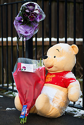 Whinnie the Pooh among small number of  Floral Tributes outside the house on Beck Road where a Three Year old girl was taken from to Sheffield Childrens Hosptial on Friday (8th feb). The girl later died around 12:20am Saturday morning (9 Feb).A 30-year-old man charged with murder of three-year-old girl from Beck Road Shiregreen, Sheffield..11 February 2013.Image © Paul David Drabble