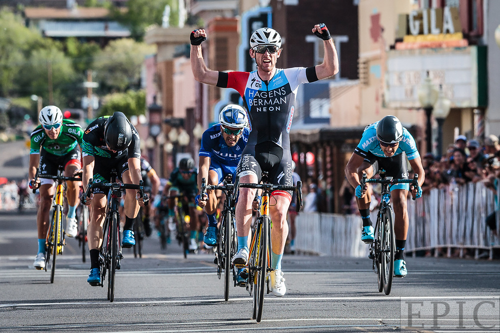 SILVERY CITY, NM - APRIL 21: Michael Rice (Hagens Berman Axeon) wins stage 4 of the Tour of The Gila on April 21, 2018 in Silver City, New Mexico. (Photo by Jonathan Devich/Epicimages.us)