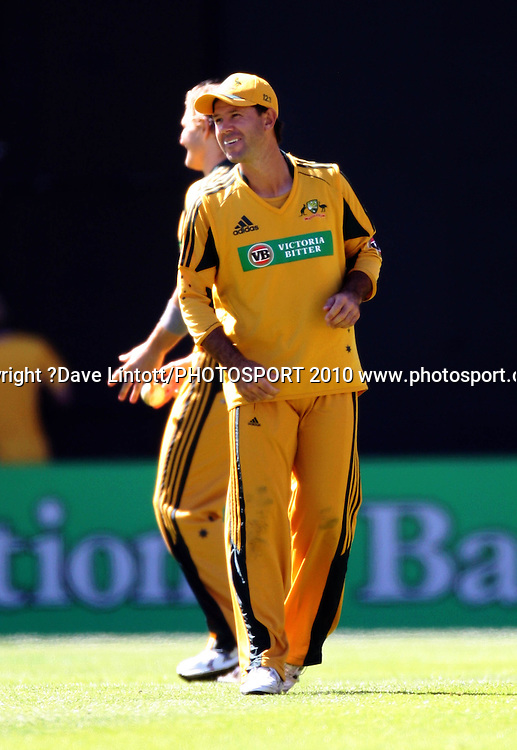 Australian captain Ricky Ponting laughs with Shane Watson.<br /> Fifth Chappell-Hadlee Trophy one-day international cricket match - New Zealand v Australia at Westpac Stadium, Wellington. Saturday, 13 March 2010. Photo: Dave Lintott/PHOTOSPORT