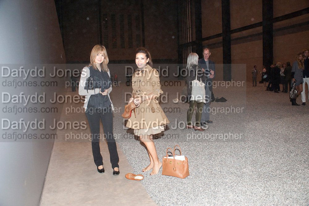 KATIA ZOLOEVA; TATIANA WINDHORST; , Ai Weiwei Unilever series opening. Tate Modern. 11 October 2010. -DO NOT ARCHIVE-© Copyright Photograph by Dafydd Jones. 248 Clapham Rd. London SW9 0PZ. Tel 0207 820 0771. www.dafjones.com.