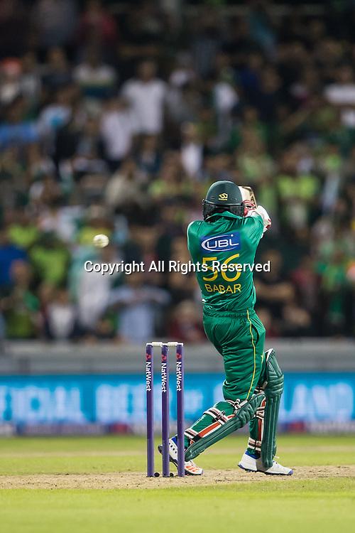 07.09.2016. Old Trafford, Manchester, England. Natwest International T20 Cricket. England Versus Pakistan. Pakistan  batsman Babar Azam hits high for a four.