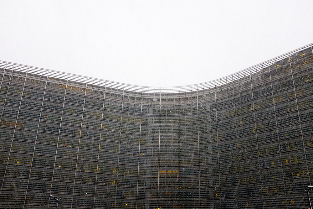 European Commission Berlaymont building, Brussels, in morning snow shower, December 2017.