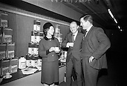 23/03/1966<br /> 03/23/1966<br /> 23 March 1966<br /> Exhibition of Columbus-Dixon Floor Maintenance Equipment and a range of Johnson Wax products run by Goodbody Ltd. at the Building Centre, Dublin. Pictured at the event are Miss Elise Collins, P.R.O., Goodbody Ltd.; Mr Tony Woodhouse, Manager Service Products Division, Goodbody Ltd. and Mr. D.J. Farrelly, Architect (Dublin).