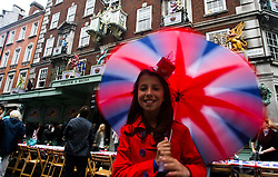 © Licensed to London News Pictures. 02/06/2012. London, Britain. Diamond Jubilee street party is celebrating on Picadilly street, London.The Royal Jubilee celebrations. Great Britain is celebrating the 60th  anniversary of the countries Monarch HRH Queen Elizabeth II accession to the throne this weekend Photo credit : Thomas Campean/LNP