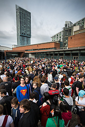 © Licensed to London News Pictures . 26/07/2015 . Manchester , UK . Crowds massing outside the venue . Comic Con convention at Manchester Central Convention Centre . Photo credit : Joel Goodman/LNP