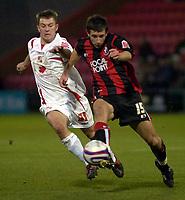 Photo: Matt Bright/Sportsbeat Images.<br /> AFC Bournemouth v Swindon Town. Coca Cola League 1. 29/12/2007.<br /> Simon Cox of Swindon & Jason Pearce of Bournemouth