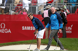 Europe's Niall Horan (left) and Paul O'Connell during a celebrity golf match ahead of the 41st Ryder Cup at Hazeltine National Golf Club in Chaska, Minnesota, USA.