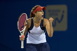 WUHAN, Sept. 27, 2017 Alize Cornet of France celebrates during the singles third round match against Varvara Lepchenko of the United States at 2017 WTA Wuhan Open in Wuhan, capital of central China's Hubei Province, on Sept. 27, 2017. Alize Cornet won 2-1.  wll) (Credit Image: © Zhang Duan/Xinhua via ZUMA Wire)