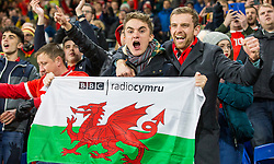 CARDIFF, WALES - Tuesday, November 19, 2019: Wales spectators celebrate after the final UEFA Euro 2020 Qualifying Group E match between Wales and Hungary at the Cardiff City Stadium where Wales won 2-0 and qualified for Euro 2020. (Pic by Laura Malkin/Propaganda)
