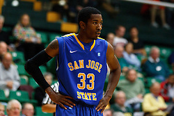 Nov 16, 2011; San Francisco CA, USA;  San Jose State Spartans guard James Kinney (33) before a free throw against the San Francisco Dons during the first half at War Memorial Gym.  San Francisco defeated San Jose State 83-81 in overtime. Mandatory Credit: Jason O. Watson-US PRESSWIRE