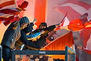 KERKRADE, Roda JC - PSV, voetbal, Eredivisie seizoen 2015-2016, 16-04-2016, Parkstad Limburg Stadion, sfeer, vlaggen, uitvak met PSV supporters.