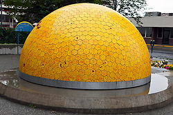 Replica of the sun as part of a planet walk display, downtown, Anchorage, Alaska, United States of America