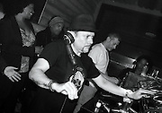 "Cindy Mizelle, Joe Claussell, Ariel Figueroa and Louie Vega in the booth at the ""Louie Vega Starring...XXVIII"" album release during Roots at Cielo in New York City, New York on February 24, 2016."