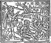 Shepherds with their flocks and dogs. Figure on left is holding bagpipes and, as well as crooks for handling the sheep, there are woodwind instruments on the ground.  Woodcut from early 16th century English edition of 'The Shepheards Kalendar'.