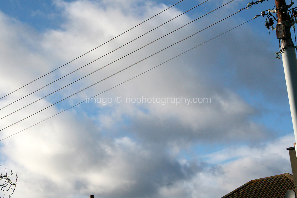 View out the car window, telegraph pole, tree top, house roof in Dublin Ireland