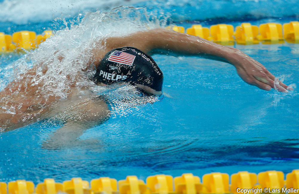 DK Caption: .20080811, Peking, Kina:  Beijing 2008 Olympic Games/Olympiske Lege. Svømning: semifinale, 200 m fri, Michael Phelps (USA).Foto: Lars Møller.UK Caption: .20080811, Beijing, China:  Beijing 2008 Olympic Games/Olympiske Lege.  Swimming: semifinal, 200 m freestyle, Michael Phelps (USA).Photo: Lars Moeller