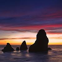 Beautiful Pacific Ocean sunset at Baker Beach, Golden Gate Recreation Area, San Francisco, California