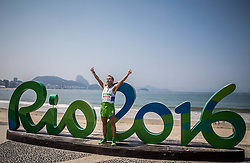 Blind Sandi Novak of Slovenia celebrates after the Men's Marathon - T12 Final during Day 11 of the Rio 2016 Summer Paralympics Games on September 18, 2016 in Copacabana beach, Rio de Janeiro, Brazil. Photo by Vid Ponikvar / Sportida