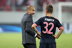 16.09.2015, Karaiskakis Stadium, Piräus, GRE, UEFA CL, Olympiakos Piräus vs FC Bayern München, Gruppe F, im Bild l-r: Chef-Trainer Pep Guardiola (FC Bayern Muenchen) mit Joshua Kimmich #32 (FC Bayern Muenchen) im Gespraech // during UEFA Champions League group F match between Olympiacos F.C. and FC Bayern Munich at the Karaiskakis Stadium in Piräus, Greece on 2015/09/16. EXPA Pictures © 2015, PhotoCredit: EXPA/ Eibner-Pressefoto/ Kolbert<br /> <br /> *****ATTENTION - OUT of GER*****