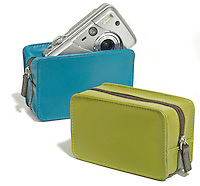 cyan and lime leather point and shoot camera cases