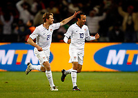 Jonathan Spector of USA and  West Ham United Landon Donovan of USA and Los Angeles Galaxy celebrates the goal.  FIFA Confederations Cup South Africa 2009 Semi-Final Spain v United States of America<br />  at Free State Stadium Bloemfontein South Africa<br /> 24/06/2009 Credit Colorsport / Kieran Galvin <br /> <br /> <br /> <br /> <br /> <br /> <br /> <br /> <br />  <br /> <br /> <br /> <br /> <br /> <br /> <br /> <br /> <br /> 17\