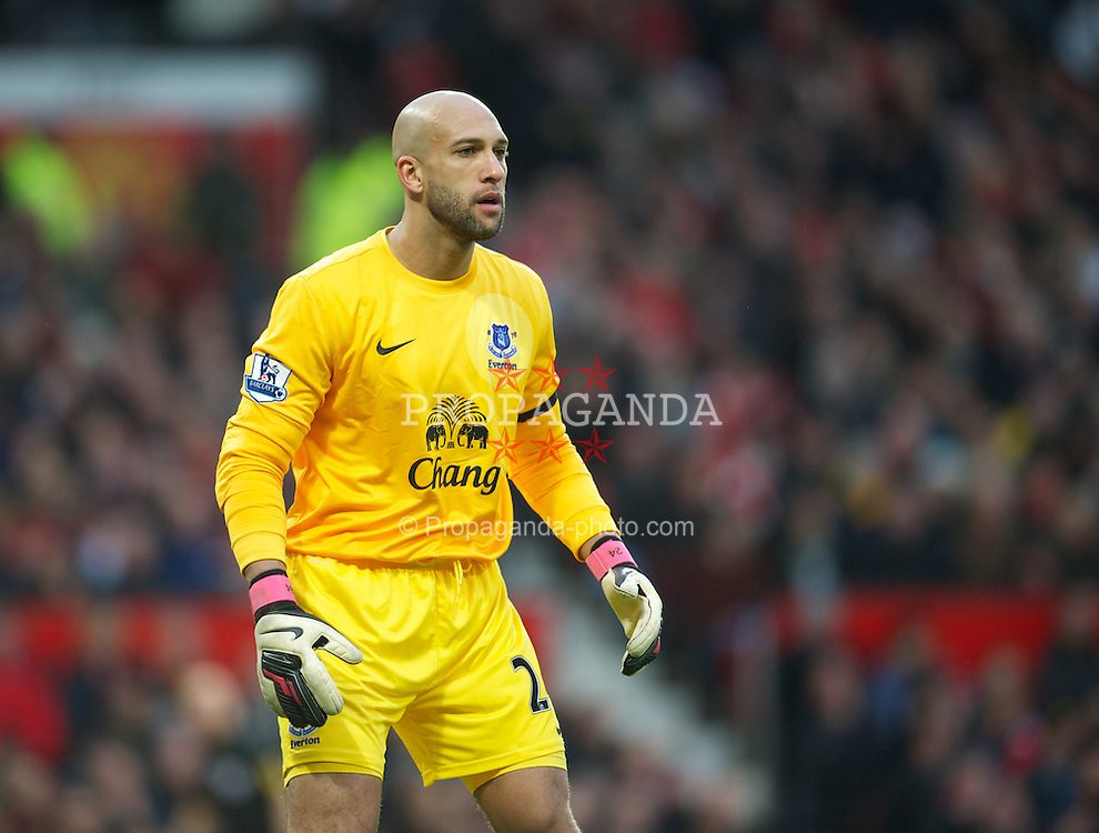 MANCHESTER, ENGLAND - Sunday, February 10, 2013: Everton's goalkeeper Tim Howard in action against Everton during the Premiership match at Old Trafford. (Pic by David Rawcliffe/Propaganda)